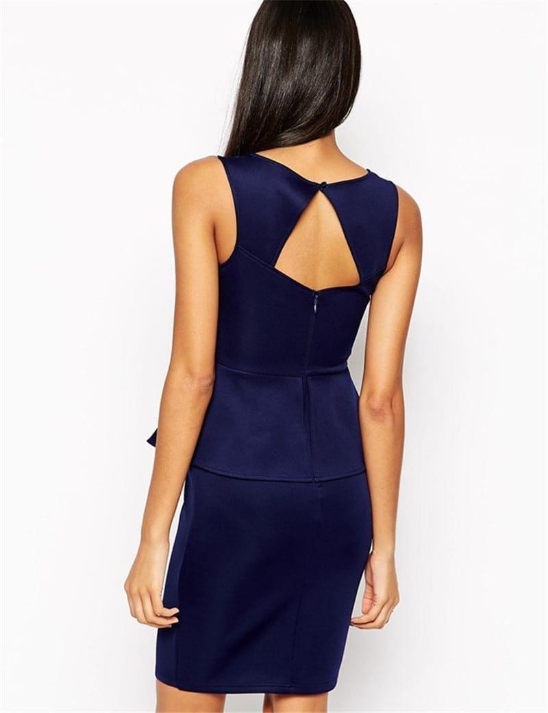 Bodycon O-neck Sleeveless Peplum Dress