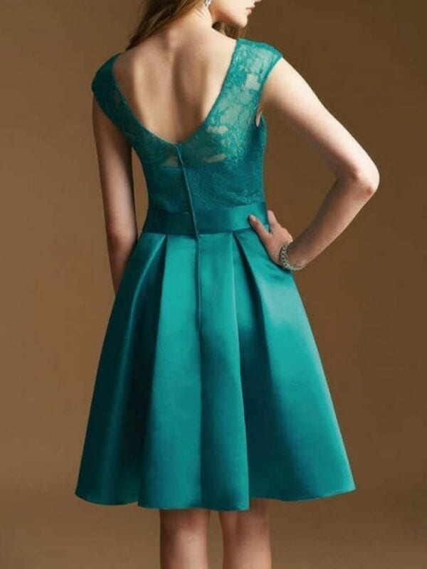 A-line Illusion Neckline Knee Length Cap Sleeve Satin Lace Bridesmaid Dress