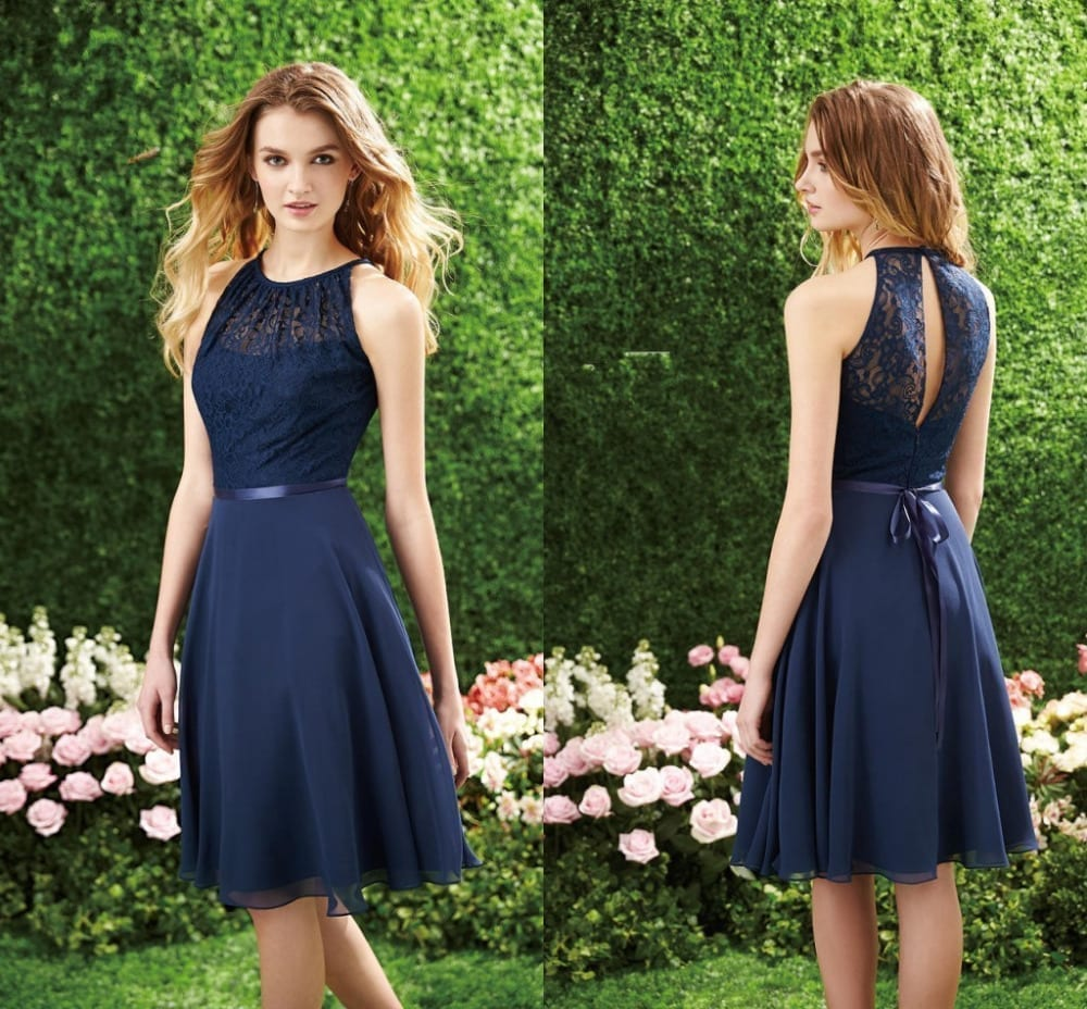 High neck knee length chiffon and lace bridesmaid dress for Knee high wedding dresses