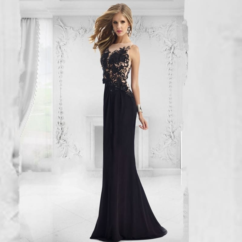 064f1cb78a9e Black Lace Appliques Beaded Sheers Backless Mermaid Formal Evening Dress