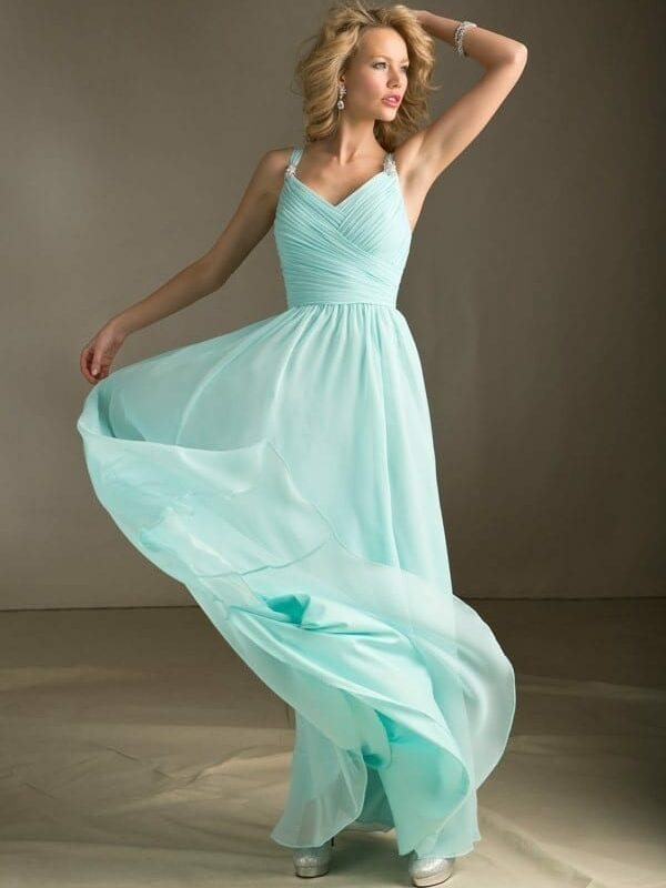 Mint Green Long Chiffon Floor Length Bridesmaid Dress
