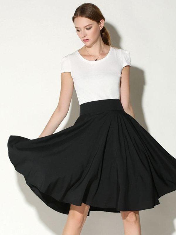 Vintage Umbrella Style Solid Pleated Cotton Poplin Fabric Skirt