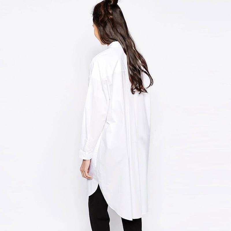 Simple Design Long White Shirts