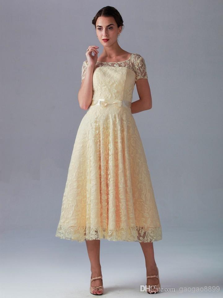 Tea length zipper back a line short sleeve beach lace for Vintage cocktail wedding dresses