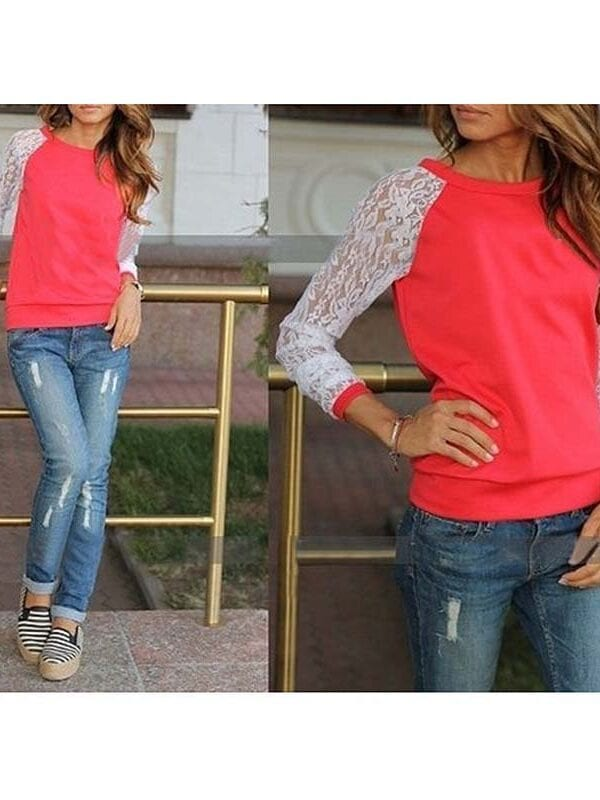 Solid O Neck Casual Long Sleeve Blouse