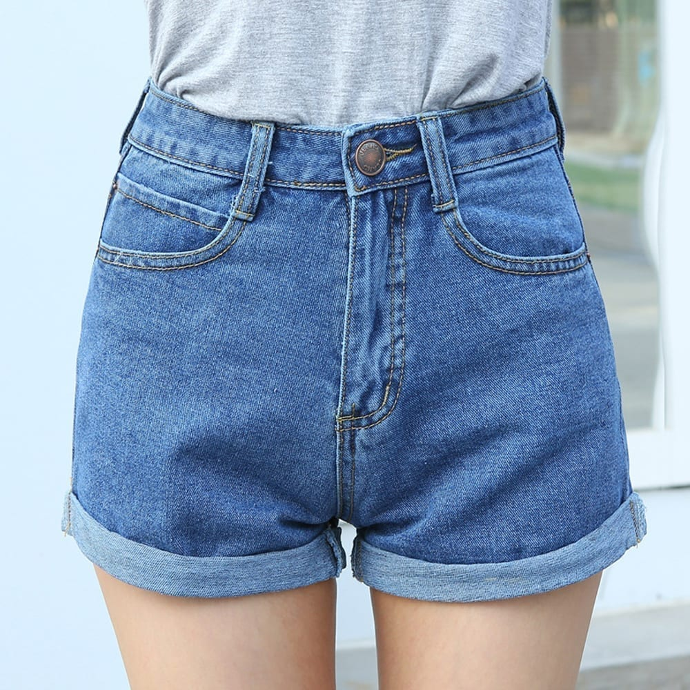 Women's Distressed Bermuda Shorts - Blue Denim