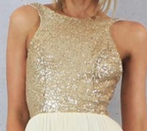Charmming Short Chiffon Champagne Gold Sequin Bridesmaid Dress
