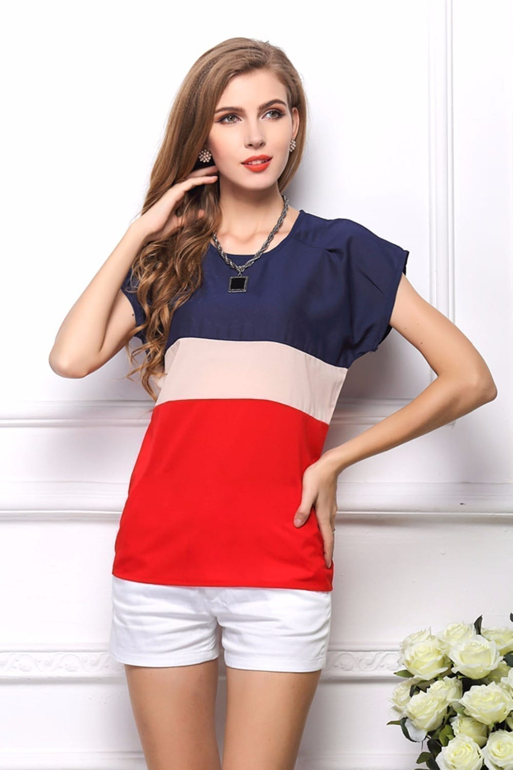 Three Colors Mosaic Loose Chiffon Blouse