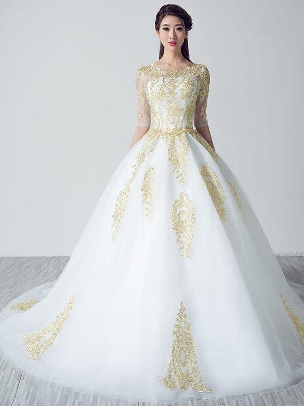 White Wedding Dresses With Gold Lace Applique Uniqistic Com