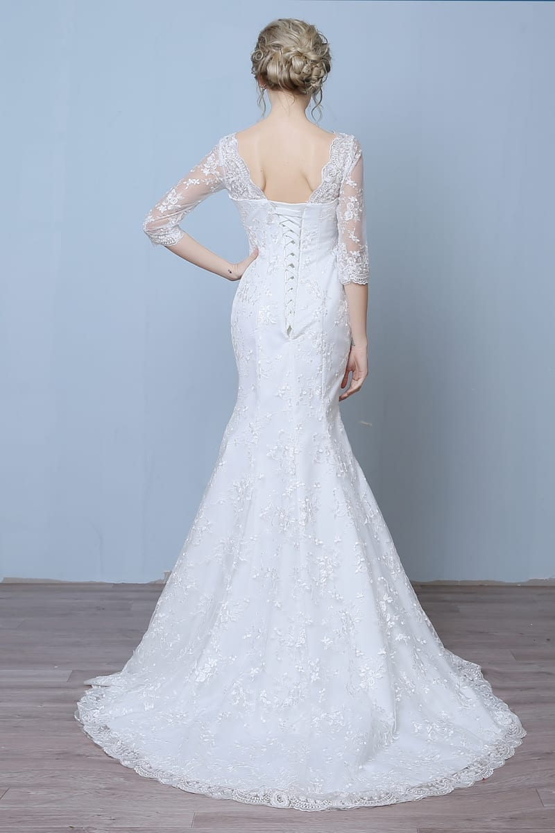 Elegant three quarter sleeve floor length train lace for Wedding dresses with three quarter length sleeves