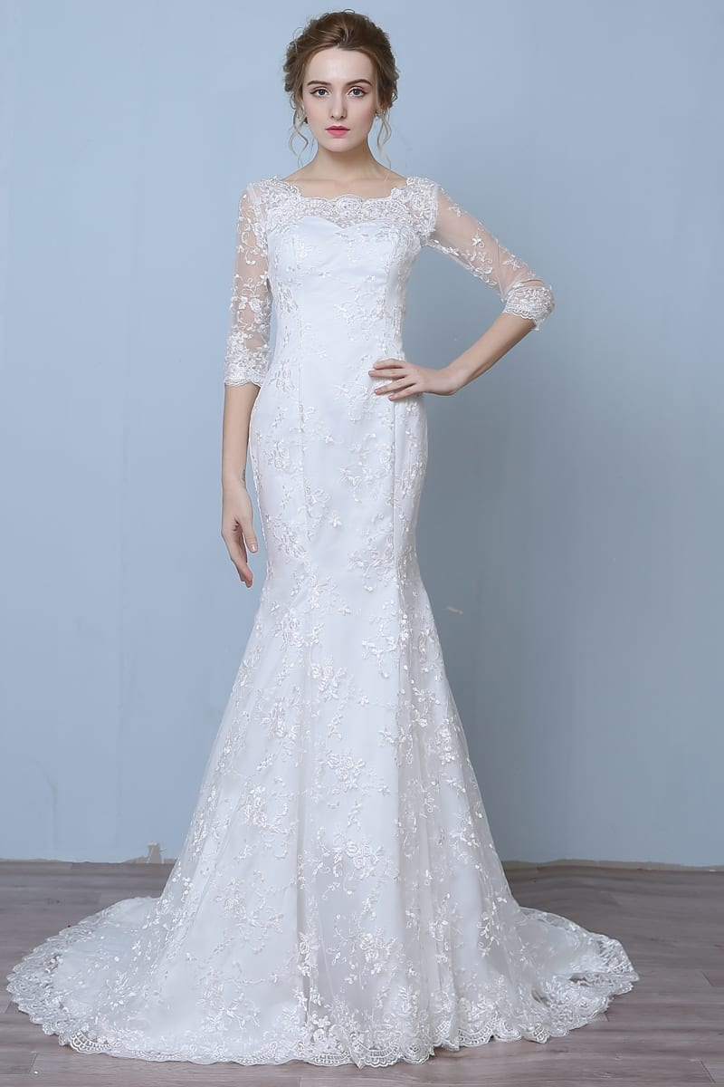 Elegant three quarter sleeve floor length train lace for One arm wedding dresses