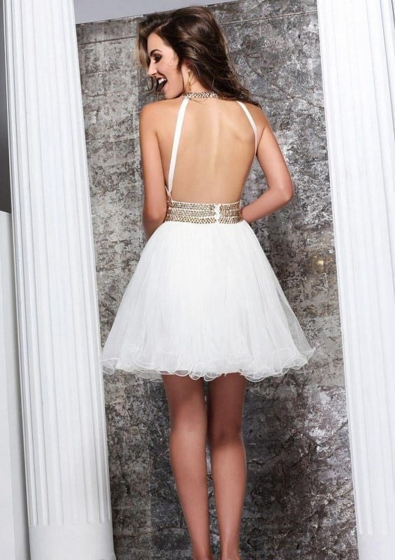 Short White Prom Dress With Gold Beads