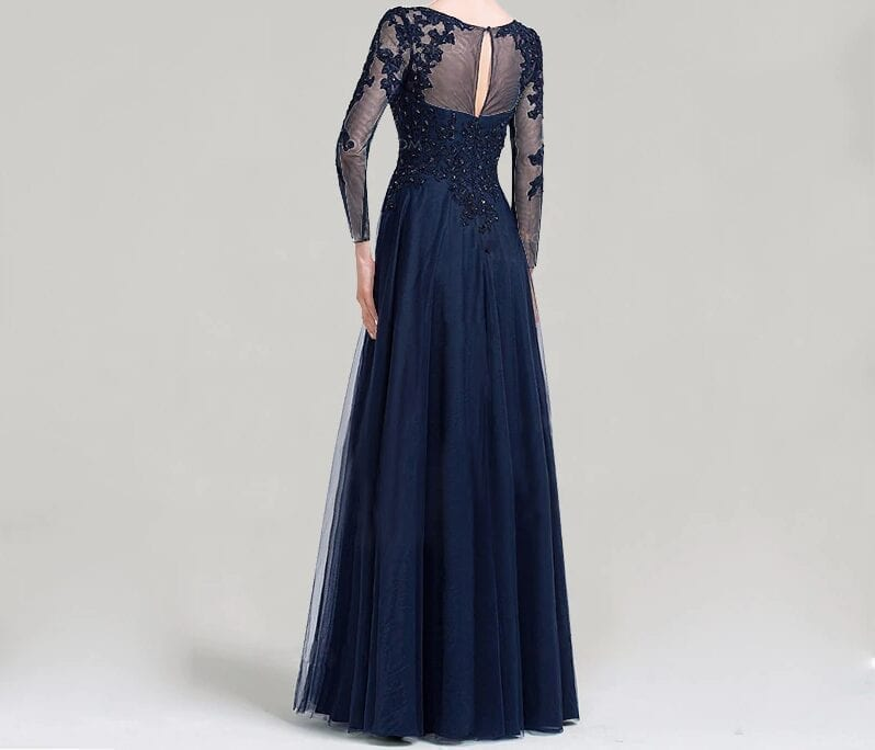 Scoop Neck A-line Beading Sequins Long Mother Of The Bride Dress