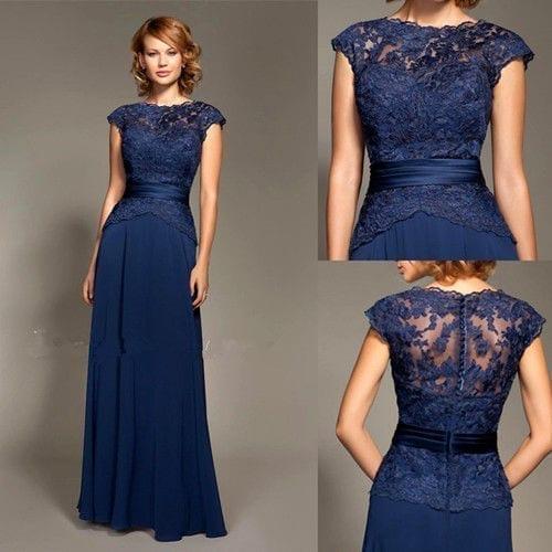 Royal Blue Lace Evening Dress 1