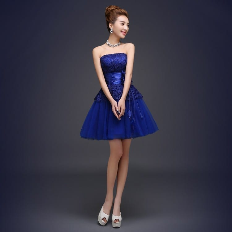 Royal Blue A-Line Short Bridesmaid Dress 1