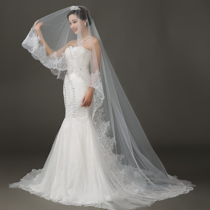 Wedding Gown Veil: Lace Edge Long Wedding Veil
