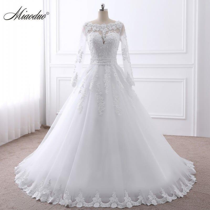 Long Sleeve Sheer Tulle Back Princess Wedding Dress