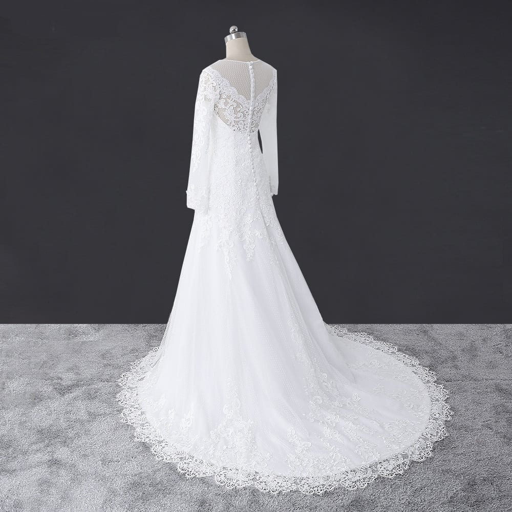 Elegant Lace Long Sleeve A-line Lace Wedding Dress