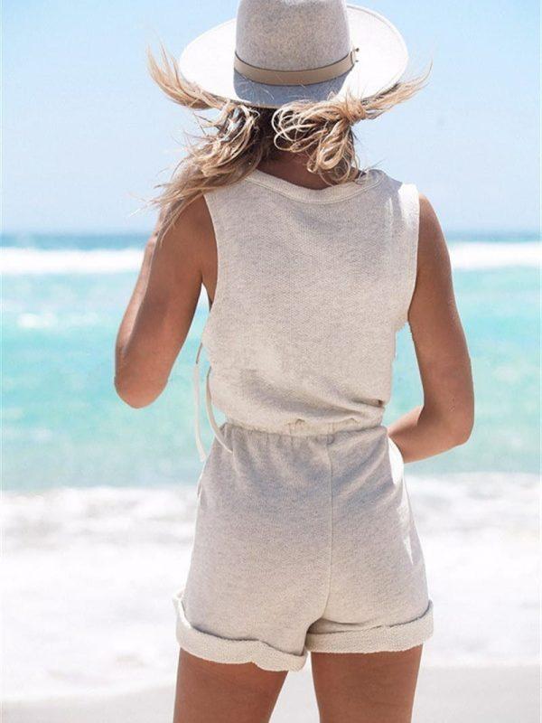 Gray Sleeveless Cotton Jumpsuit