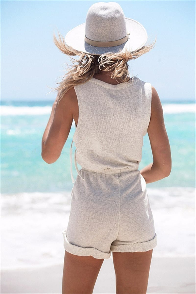 Gray Sleeveless Cotton Jumpsuit