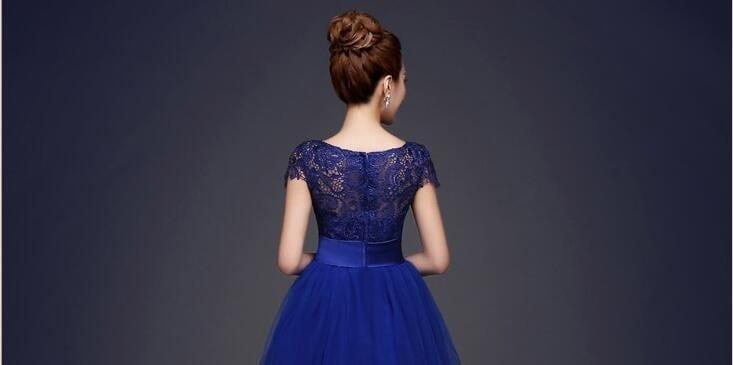 Royal Blue A-Line Short Bridesmaid Dress 3