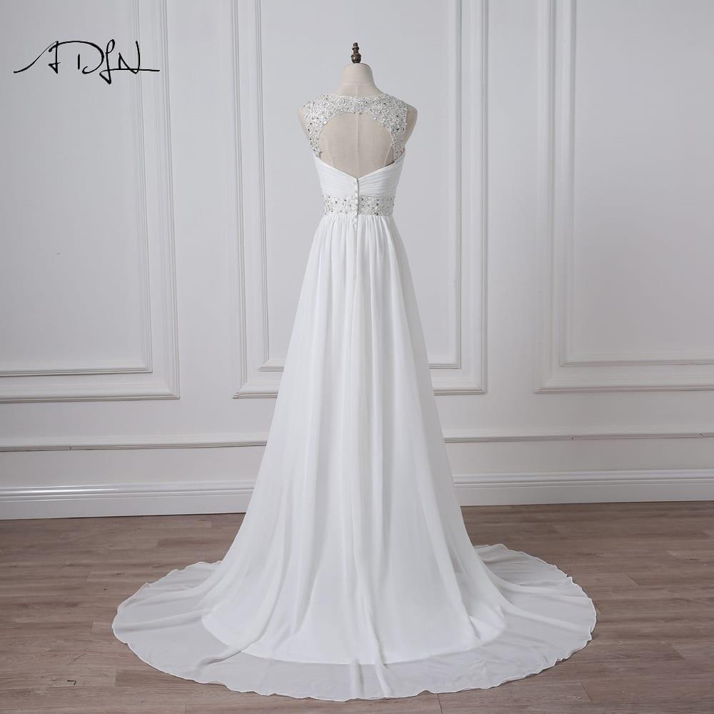 V-neck Sleeveless Long Pleat Crystals Beaded Chiffon A-line Wedding Dress