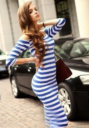 Knee Length Half Sleeve Striped Pencil Dress