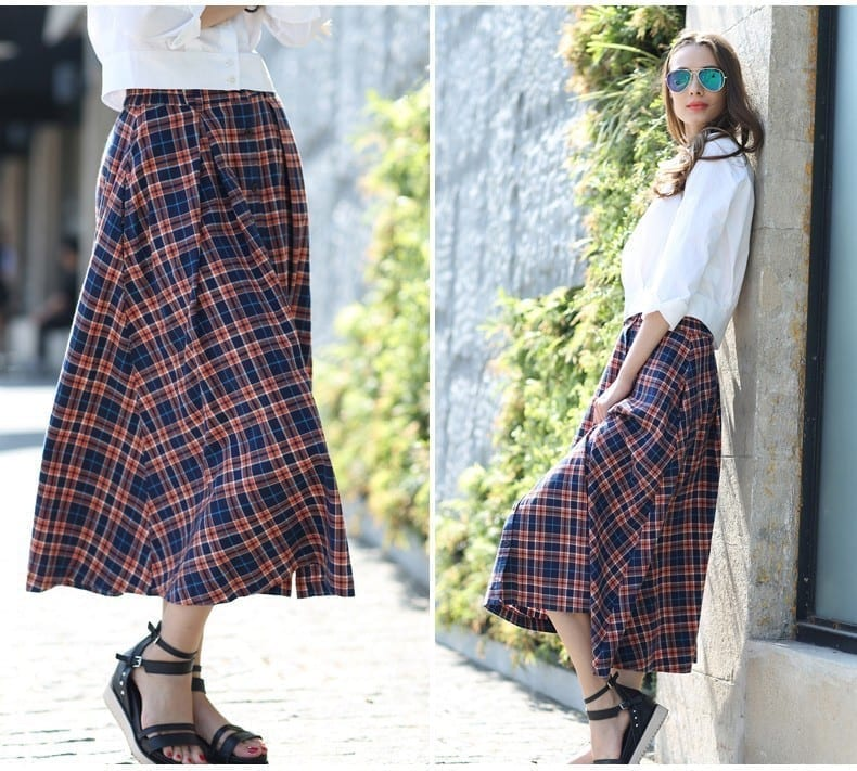 A-line Long Plaid Cotton Skirt