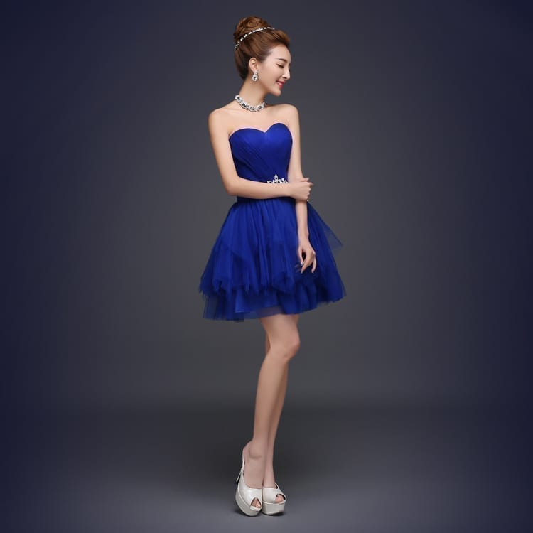 Royal Blue A-line Short Bridesmaid Dress