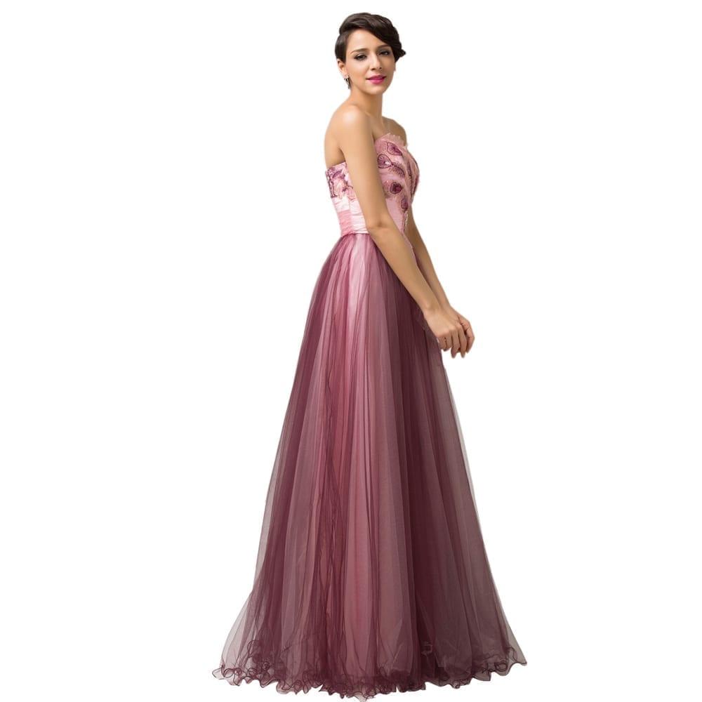 Elegant Strapless Tulle Long Evening Dress