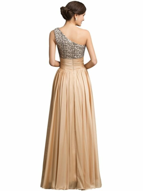 One Shoulder Sequins Long Evening Dress