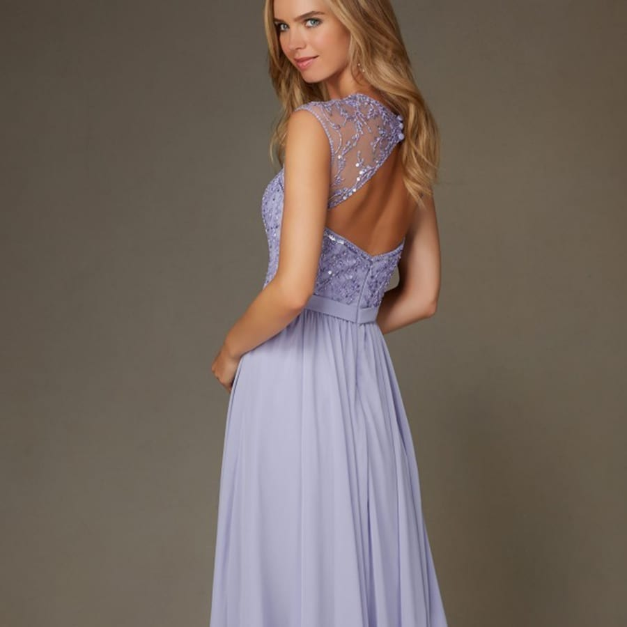 Sparkly light purple lilac open back cap sleeves chiffon for Sparkly wedding dresses with sleeves