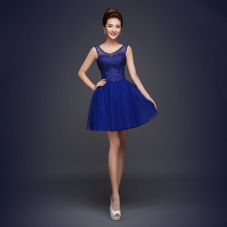 Royal blue a line short bridesmaid dress for Royal blue short wedding dresses