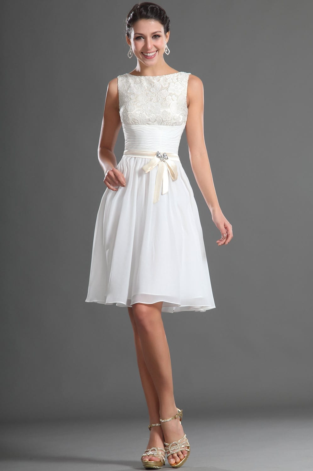 Knee length modest white chiffon lace short bridesmaid for Short formal wedding dresses