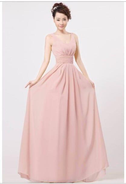 Shoulder Straps V-neck Elegant Long Bridesmaid Dress
