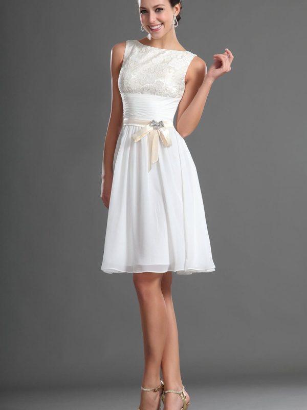 Knee Length Modest White Chiffon Lace Short Bridesmaid Dress