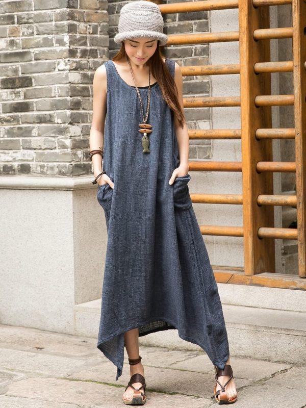 Cotton Linen Sleeveless Summer Dress