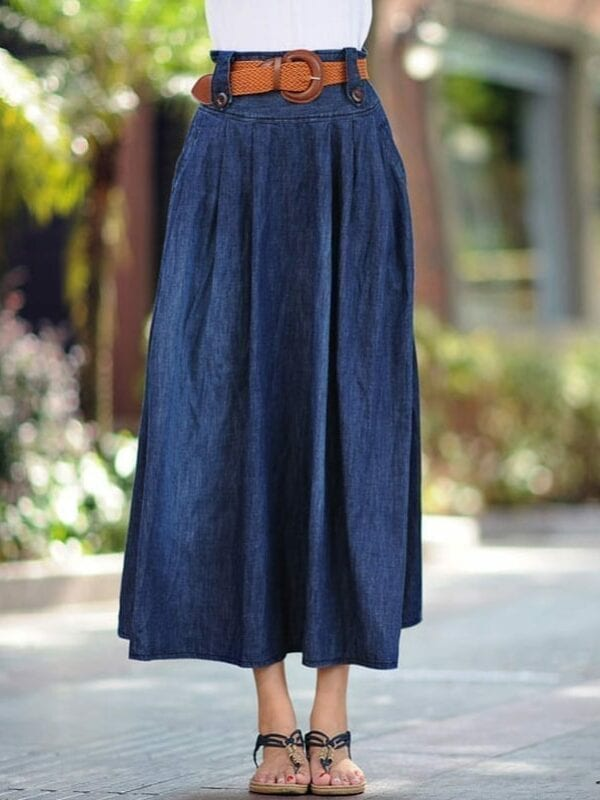 Ankle Length Long Denim Skirt