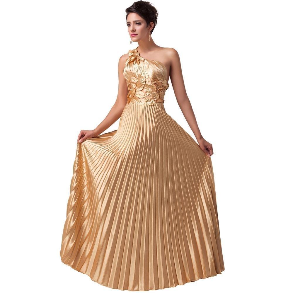 Designer Formal Dresses: One Shoulder Satin Long Gold Evening Dress