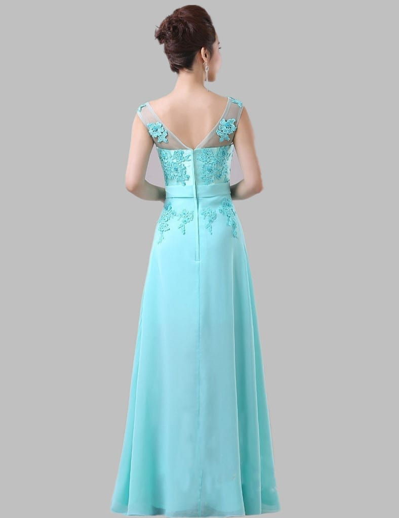 Mint Blue Lace Chiffon Long Elegant Bridesmaid Dress
