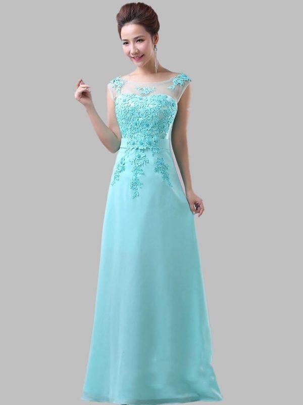 Mint Blue Lace Chiffon Long Elegant Bridesmaid Dress