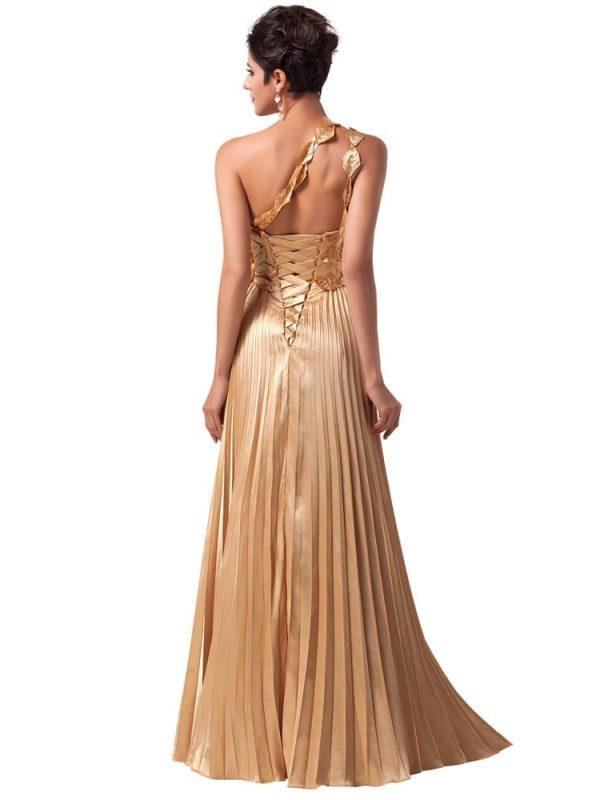 One Shoulder Satin Long Gold Evening Dress