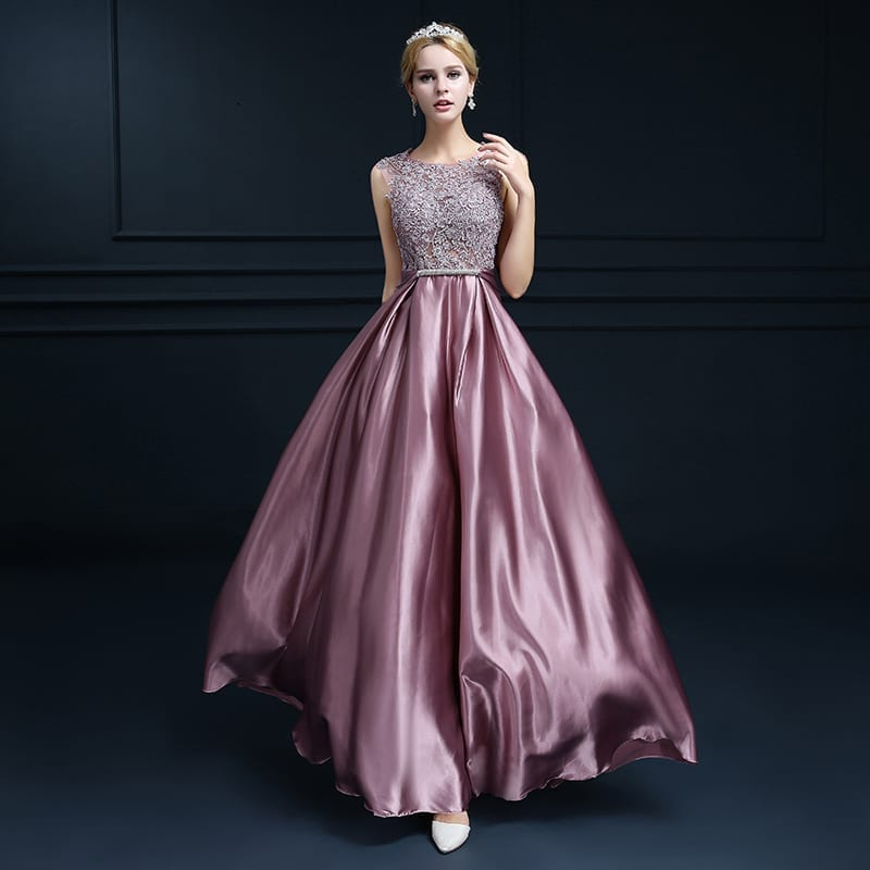 Embroidery Shoulder Straps Satin Long Evening Dress