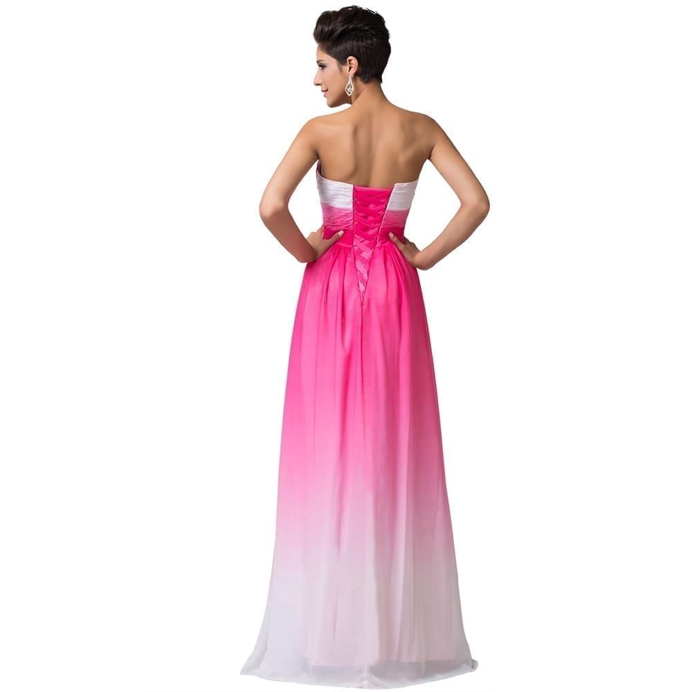 A-line Ombre Chiffon Long Evening Bridesmaid Dress