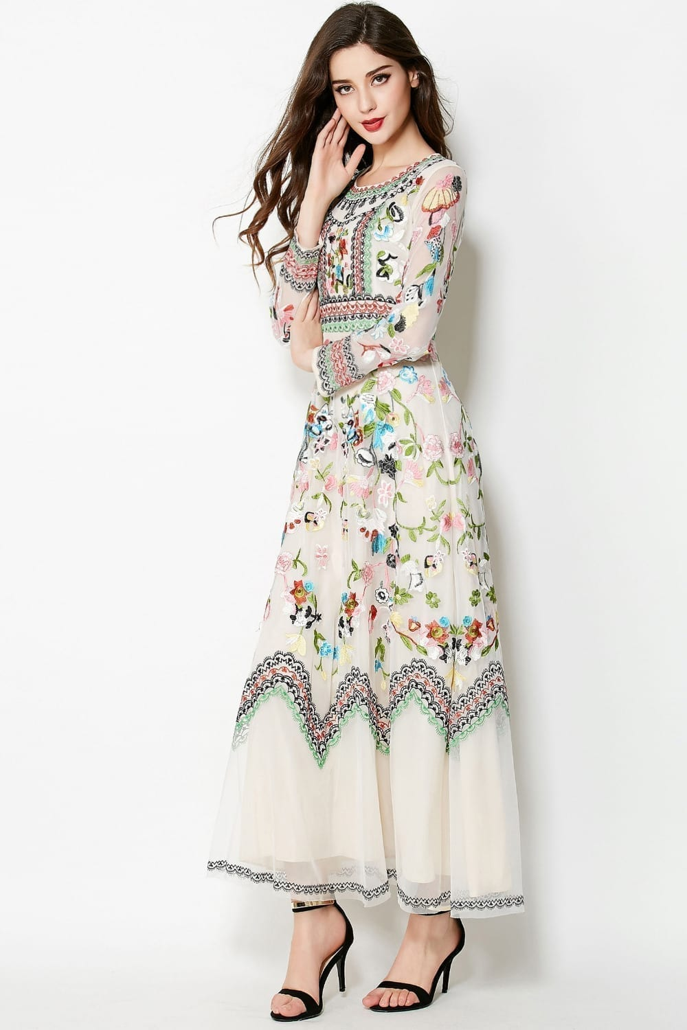 Embroidery Flowers Long Sleeve Ankle Length Dress