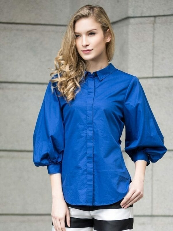 Vintage Lantern Sleeve Cotton Shirt