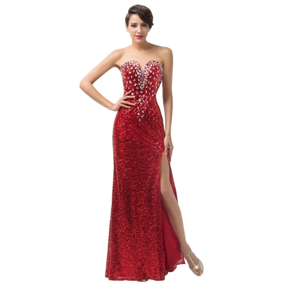 Red Long Crystal Sequins Evening Dress - Uniqistic.com