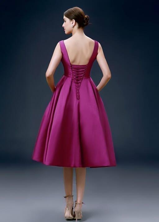 Elegant Satin Knee Length Low Back Fuchsia Cocktail Dress