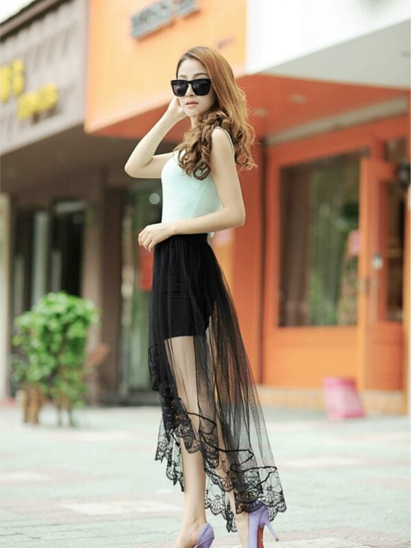 Long And Short Lace Tulle Skirt
