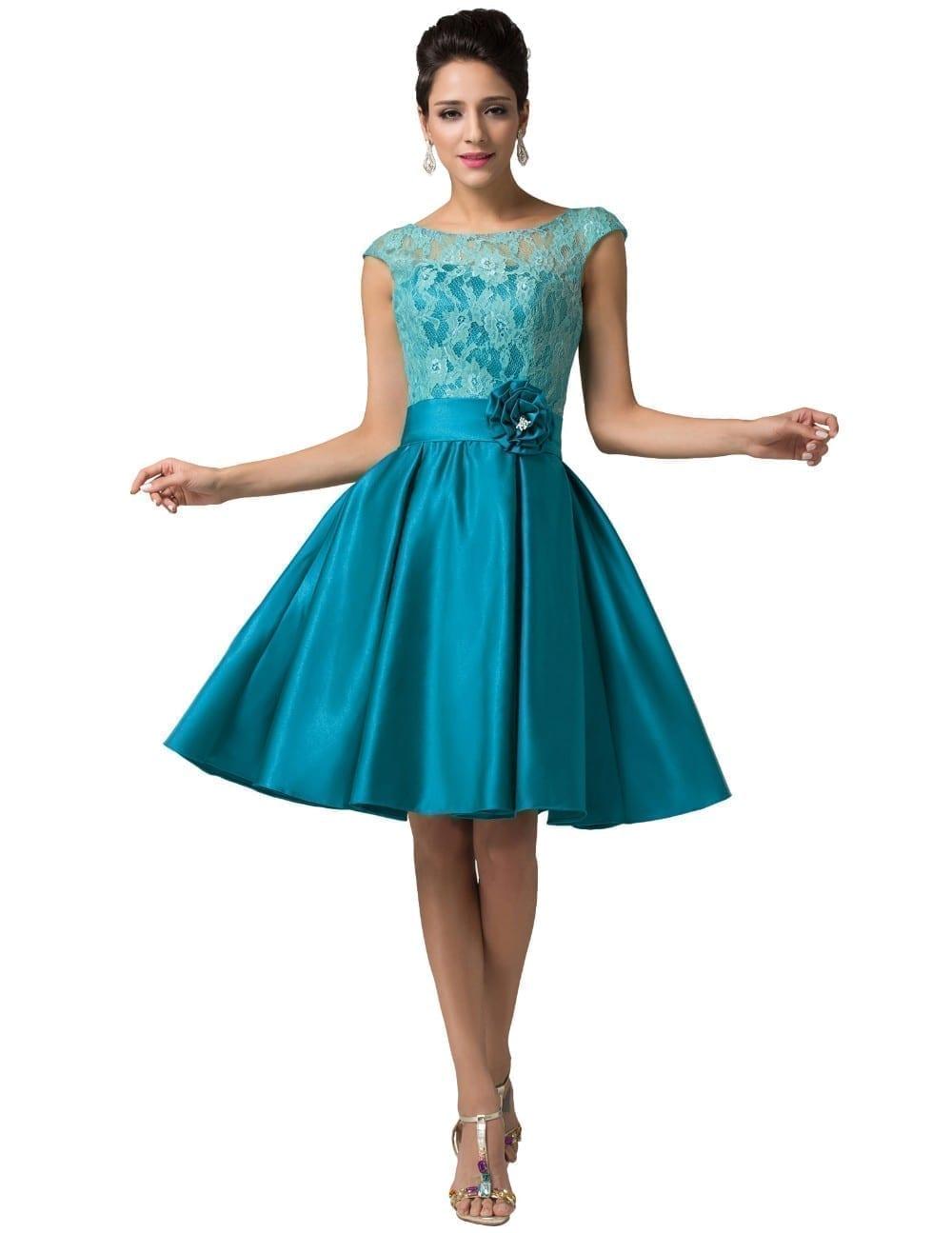 A-line V-back Lace Short Bridesmaid Dress